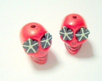 Red and Black Flower Eyes in Day of The Dead Sugar Skull Beads-12mm