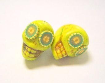 Green Melon Eyes Day of The Dead Sugar Skull Beads-12mm