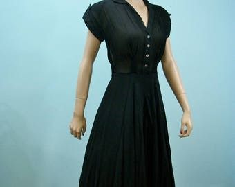 1940s Swing Dress . Vintage Full Skirt Sheer Black R & K Original Dress.  Medium