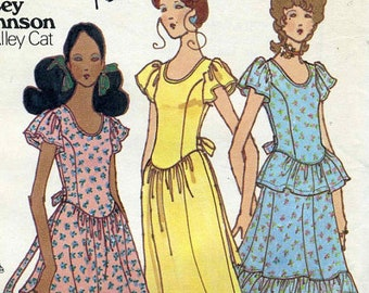 Vintage 70s Betsey Johnson Princess Seamed 1 or 2 pc Mini or Ankle Length Dress  Sewing Pattern Bust 32 Flutter Sleeves Back Ties Scoop Neck