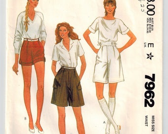 Vintage 80's Misses Shorts Sewing Pattern Sz 6 Waist 23 Front Pleats Inset Pockets Buckled Side Tabs Cuffs Side Patch Pockets Long or Short