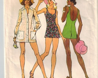 Vintage 70's Misses Bathing Suit Suit Tunic Reversible Hat Sewing Pattern Size 18 Bust 40 Sweetheart Neckline Lined Bodice Shorts Cover Up