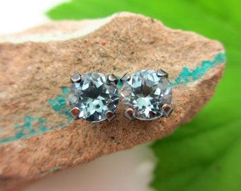 Black Silver Natural Sky Blue Topaz Stud Earrings, 6mm