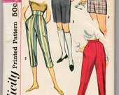 """Vintage Sewing Pattern Simplicity 2996 Girl's Shorts, Jamaicas, Pedal Pushers and Pants Size 25"""" Waist"""