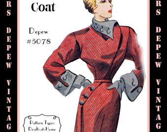 Vintage Sewing Pattern 1950's Coat Dress in Any Size - PLUS Size Included - Depew 5078 -INSTANT DOWNLOAD-