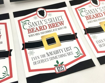 INSTANT DOWNLOAD (Digital) Santa's Select Beard Brew Fun Christmas Cheer Beer Label - Set of 6