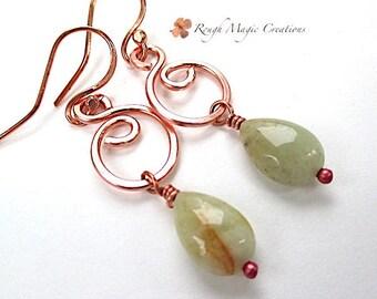 Aquamarine Earrings, Light Green Gemstones, Boho Long Dangle Earrings, Teardrop Stones, Rustic Copper Swirls, Hook Earring Wires  E483