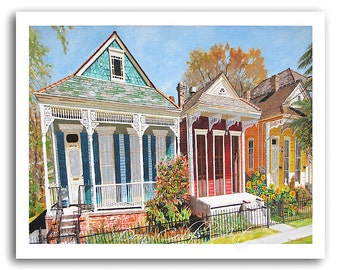 "New Orlean's Shotgun House Art ""NOLA Dryades St."" Prints Signed and Numbered (Three Sizes to Choose)"