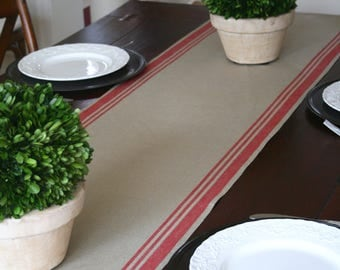 Red Striped Table Runner, Faux Grain Sack Runner, Linen Runner, Red Striped Runner, French Country, Christmas Runner