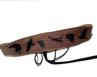 Banjo Strap- Flying Crow Screen Printed Design-hemp linen-raven-crows-birds-bird-gifts for muscisians-cradle strap