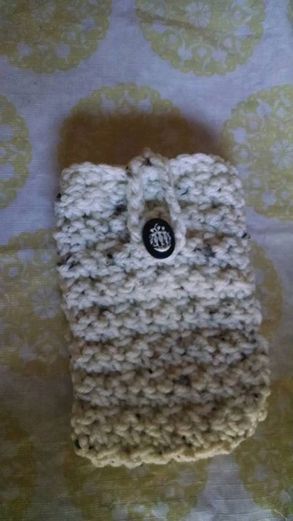 Your Choice Crochet Cell Phone Case with Cabochon Easy Closure Matching Card Holder Available Android 5 1/2 inches x 3 inches