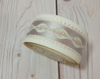 Vintage French Embroidered Trim Woven Ribbon Pale Pink Lavender Floral La Petite Fleur Collection By The Yard