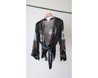 1990s Wrapped Kimono Sequin Blouse