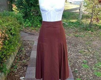 1960s Vintage Brown Wool Pleated Skirt High Waist Knee Length Wool Skirt Brown Schoolgirl Uniform Skirt Flat Pleats Size Extra Small