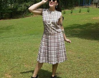 1960s Vintage Plaid Dropwaist Pleated Dress Cream Orange Black Plaid Schoolgirl Uniform Dress Long Pleated Skirt Size Large