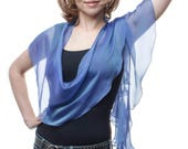 Promo sale: Royal Blue/Turquoise Silk Fluttering Wrap