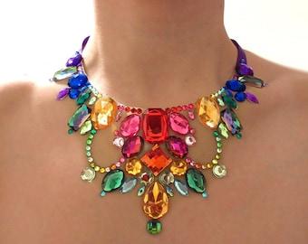 Rainbow Illusion Necklace, Rainbow Rhinestone Statement Necklace, Rainbow Bib Necklace, Colorful Rhinestone Bib Necklace, Floating Necklace