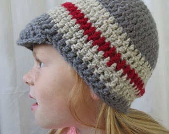 Hand Crochet Crocheted BEENIE Hat Toque Brim Warm Gray Acrylic NEW Boys or Girls 2 - 5 yrs.