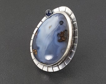 Blue Agate and Sapphire Ring, boho, bohemian, size 7.5 ring, sterling silver, blue stone ring, large blue ring, agate ring, sapphire ring
