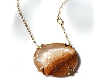 Rutilated Quartz Necklace | Ready to Ship | Rose Cut Facet, Handmade Quartz Pendant Necklace with Recycled 14k Yellow Gold