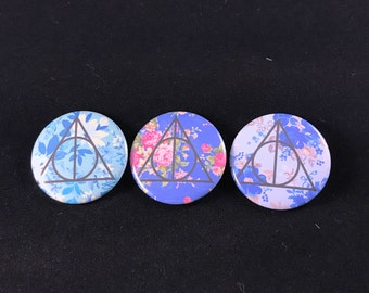 Harry Potter Inspired Deathly Hallows - Button, Magnet, or Pocket Mirror