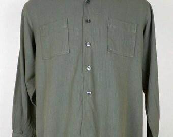 Vintage Duke of Hollywood Green Brown Stripe Shirt Mens L 60s