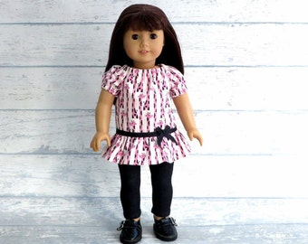 Giraffe Print Tunic Top with Stretch Denim Leggings, 18 inch Doll Outfit