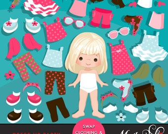 Dress Up Party Clipart. Little Girls Dressing Party Graphics, Cute Characters, african american. Party invitations, planner graphics.