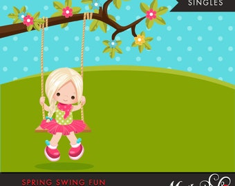 Spring Clipart. blonde girl playing, swing, spring trees, graphics, outdoor, easter, card making, scrapbooking, commercial use