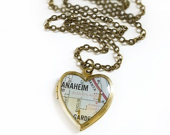 Anaheim California Map Necklace with Disneyland landmark, Vintage Brass Heart Locket, Brass Chain, Small Locket, Map Jewelry, Gift for Her