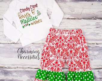 Baby Girl Christmas Outfit, Toddler Girl Clothes, Top and Ruffle Pants Set Candy Cane Kisses Mistletoe Wishes red green gold glitter