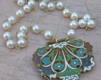 Vintage Assemblage Necklace, Repurposed Jewelry, Enamel Pendant, Blue Flower necklace, Pearl Boho Necklace, Unique Necklace,