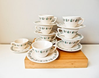 Vintage Cups and Saucers, Modern Cups and Saucers, Teacup Set, Coffee Cup Set, Set of 8 Cups Saucers