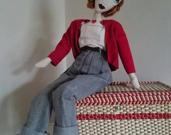 Annie - 1950s Fashion Embroidered OOAK Doll