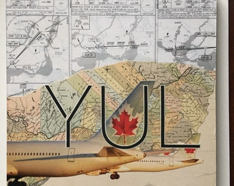ARTWORK. YUL Pierre Elliott Trudeau Intl Airport, Montreal, Canada using Recycled Jeppesen Chart and 1888 Quebec Map / Frequent Flyer