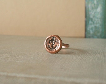 Stamped Anchor Copper Electroformed Ring size 8 - nautical, summer, beach