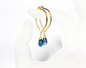 London Blue Topaz Gold Vermeil Hoops, Lotus Wire Gemstone Earrings, Medium or Large
