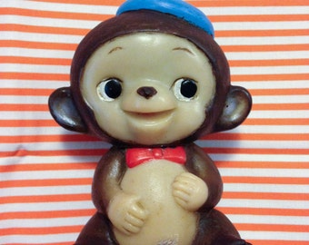 Vintage Japan Sweet Kawaii Kobe Bank Monkey Blue Hat Coin Bank