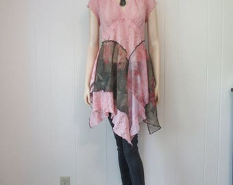Boho Shabby Pink Tunic Dress Lace with Floral Chiffon Eco-Chic Fae Fashion One Size Fits S - L