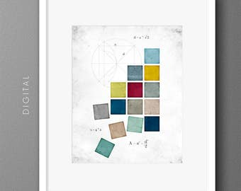 Geometric Abstract Printable Yellow Blue Green Red Squares Rainbow Wall Art Modern Mathematics Boy's Room Decor Back To School 24x36 Print
