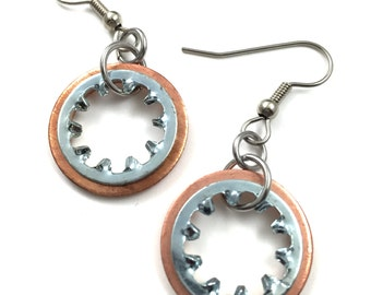 Steampunk Dangle Earrings Copper Hardware Jewelry Industrial Lightweight Earrings