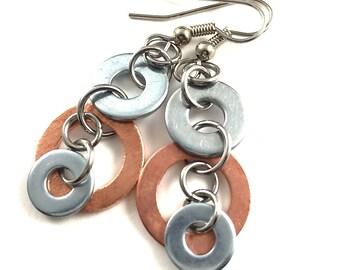 Copper Dangle Earrings Mixed Metal Hardware Jewelry Industrial Eco Friendly