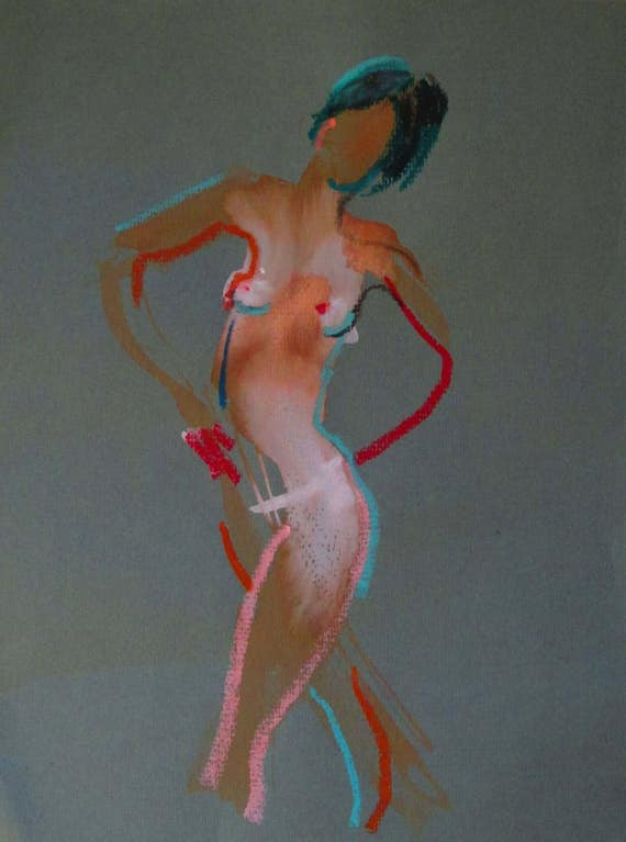 Nude painting of One minute pose 100.6 Original nude painting by Gretchen Kelly