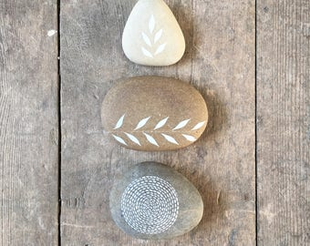 Circle of Life 3 - Painted Stones - Collection of 3 Pebbles with Nature Designs - by Natasha Newton
