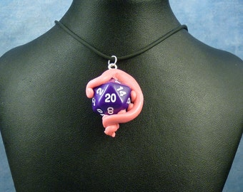Pink and Purple Sanity Check Necklace - Tentacle Wrapped D20 Pendant