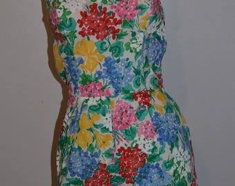70s romper short body suit jumpsuit. Floral print halter top shoestring ties. bright colors. Summer Made in USA. bodysuit medium Bust 34 36