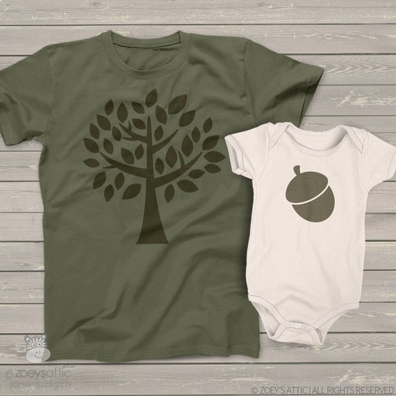 The acorn doesn't fall far from the tree matching daddy and baby tshirt or bodysuit gift set - great Father's Day gift  MDF1-018-2