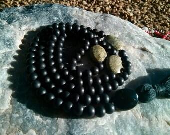 Matte Black Onyx Mala - Prayer Beads - Buddhist Rosary