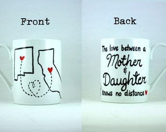 The Love Between a Mother and Daughter Hand Painted Coffee Cup, Long Distance, Gifts for Graduates, Gift for Mom, Mother's Day, College Grad