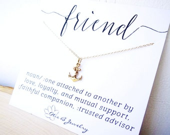 Dainty Anchor charm necklace, Friendship necklace, best friends, message card, sisters, sisterhood, Otis B, Meaningful gift for her